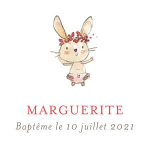 Etiquette de baptême petits lapins rose