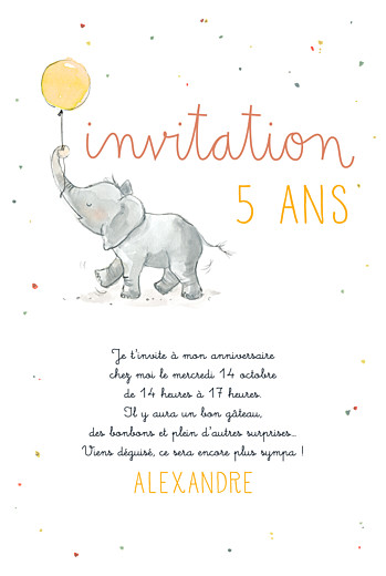 Carte d'anniversaire Petit éléphant jaune
