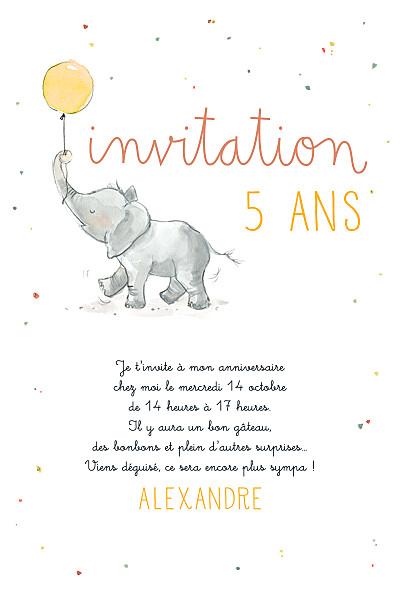Carte d'anniversaire Petit éléphant jaune finition