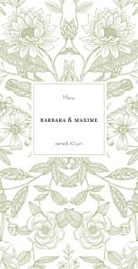 Menu de mariage tous genres pysché (4 pages) vert