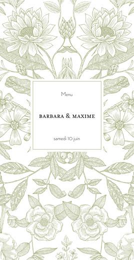Menu de mariage Pysché (4 pages) vert