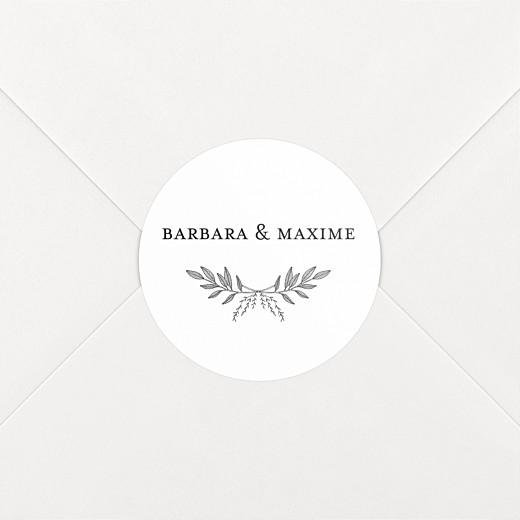 Stickers pour enveloppes mariage Psyché blanc - Vue 2