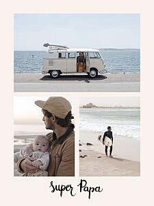 Affichette photos super papa beige