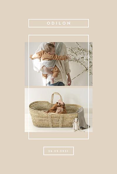 Faire-part de naissance Nuance graphique portrait beige finition