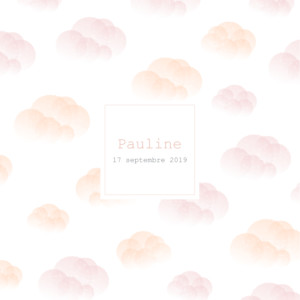 Faire-part de naissance Brume (dorure) rose orange