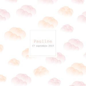 Faire-part de naissance nuage brume (dorure) rose orange