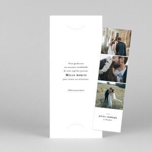 Carte de remerciement mariage Tout simplement (marque-page) blanc