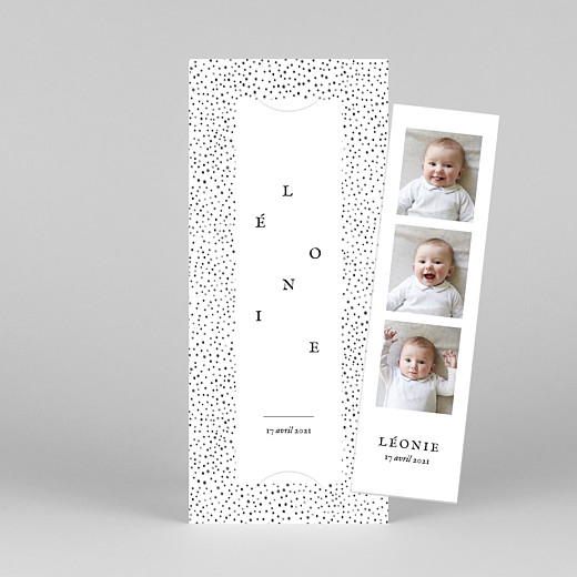 Faire-part de naissance Little dots (marque-page) rose - Vue 1