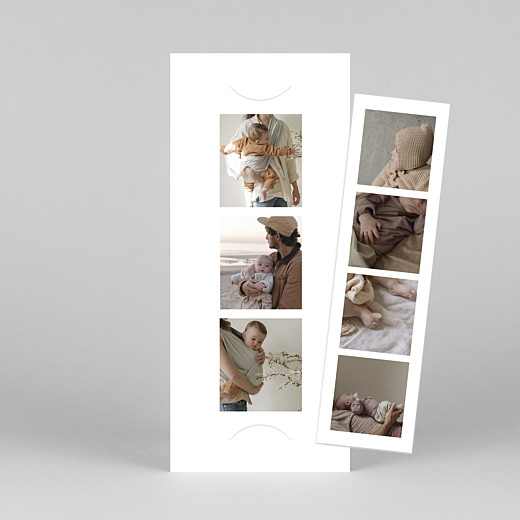 Faire-part de naissance Photomaton (marque-page) blanc - Vue 1