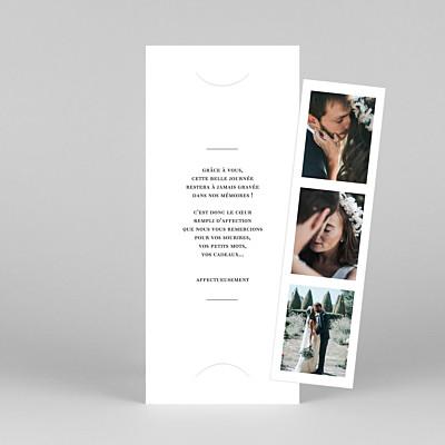 Carte de remerciement mariage moderne moderne chic (marque-page) blanc