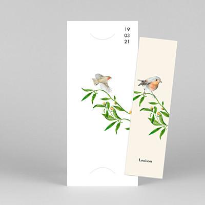 Faire-part de naissance marque-page mélopée (marque-page) blanc