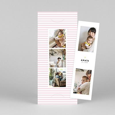 Faire-part de naissance tomoë  rayures pastel (marque-page) rose