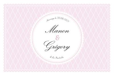 Carton d'invitation mariage Gourmand raffiné rose finition
