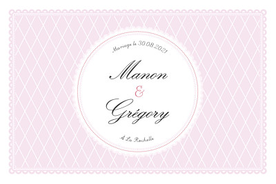 Carton d'invitation mariage Gourmand raffiné rose finition