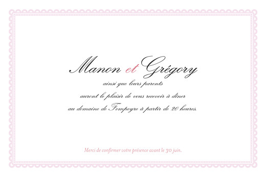 Carton d'invitation mariage Gourmand raffiné rose - Page 2