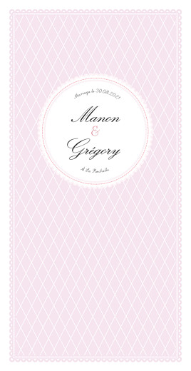 Menu de mariage Gourmand raffiné (4 pages) rose