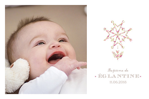 Carte de remerciement Merci croix huguenote rose
