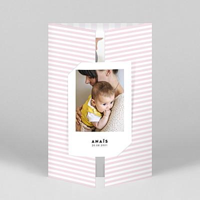 Faire-part de naissance rayures rayures pastel (fenêtre portrait) rose