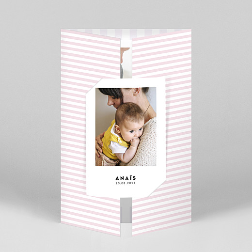 Faire-part de naissance Rayures pastel (fenêtre portrait) rose - Vue 1