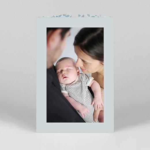 Faire-part de naissance Broderie florale (fenêtre portrait) bleu - Vue 3