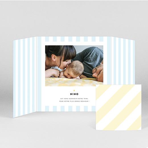 Faire-part de naissance Rayures pastel (fenêtre) bleu - Vue 2
