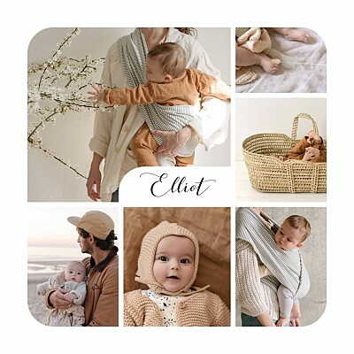 Faire-part de naissance Tendre innocence (photos) blanc finition