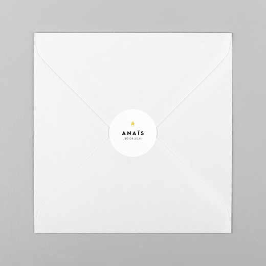 Stickers pour enveloppes naissance Rayures pastel blanc - Vue 1