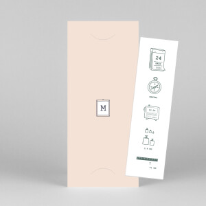 Faire-part de naissance Ruban pictos (marque-page) rose