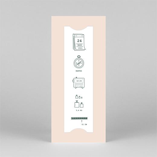 Faire-part de naissance Ruban pictos (marque-page) rose - Vue 2