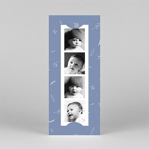 Faire-part de naissance Élégant feuillage (marque-page) bleu - Vue 2