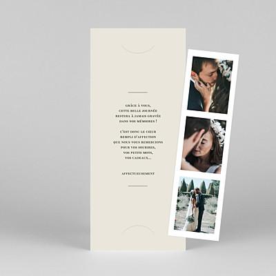 Carte de remerciement mariage blanc moderne chic (marque-page) beige