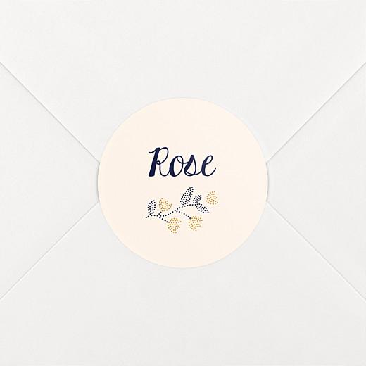 Stickers pour enveloppes naissance Broderie florale beige - Vue 2