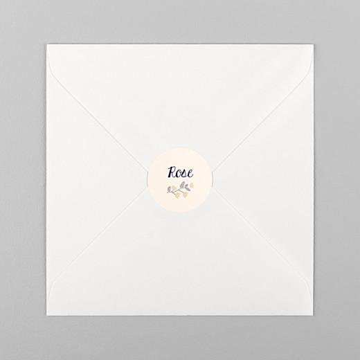 Stickers pour enveloppes naissance Broderie florale beige - Vue 1