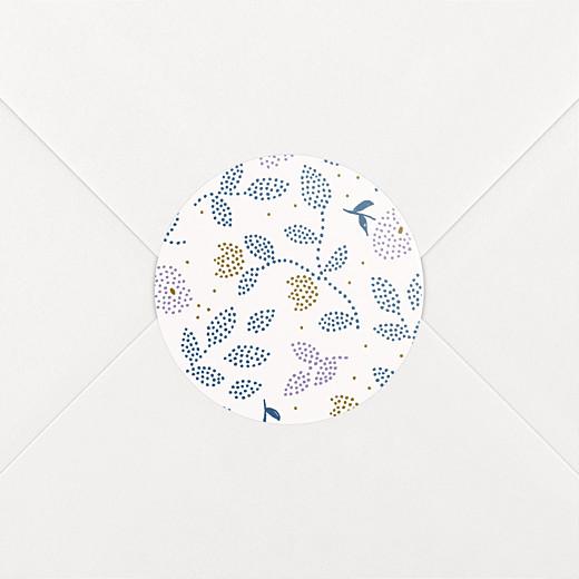 Stickers pour enveloppes naissance Broderie florale violet - Vue 2