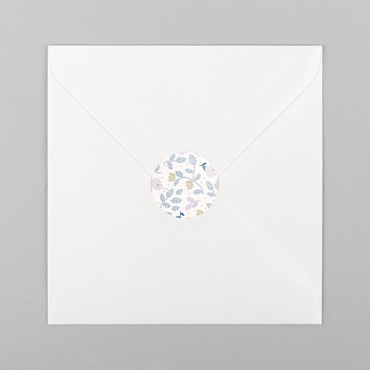 Stickers pour enveloppes naissance Broderie florale violet - Vue 1