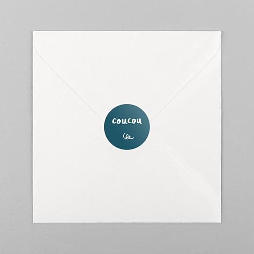 Stickers pour enveloppes naissance Coucou by mathilde cabanas bleu - Vue 1