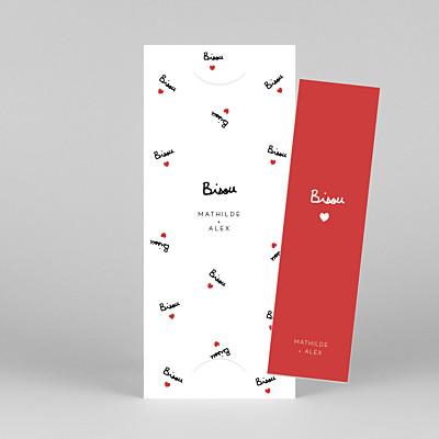 Carte de remerciement mariage moderne bisou by mathilde cabanas (marque-page) rouge