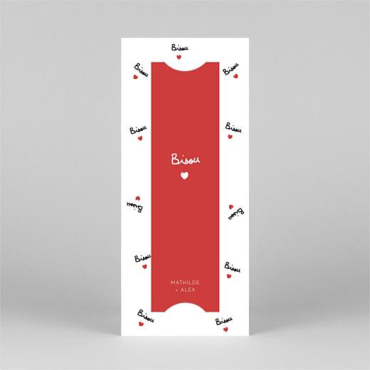Carte de remerciement mariage Bisou by mathilde cabanas (marque-page) rouge - Vue 2