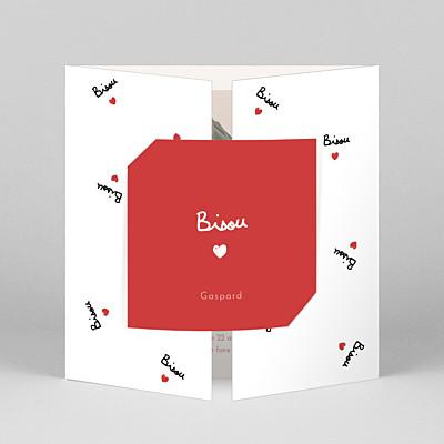 Faire-part de naissance motifs bisou by mathilde cabanas (fenêtre) rouge