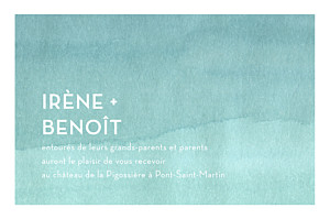 Carton d'invitation mariage jaune aquarelle turquoise