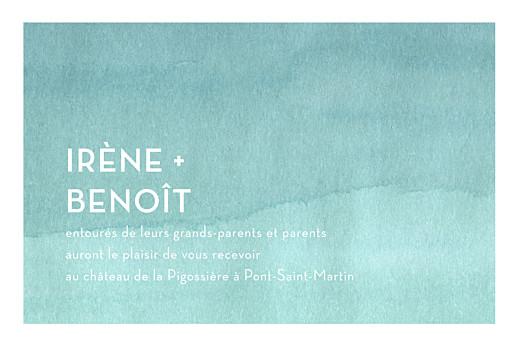 Carton d'invitation mariage Aquarelle turquoise