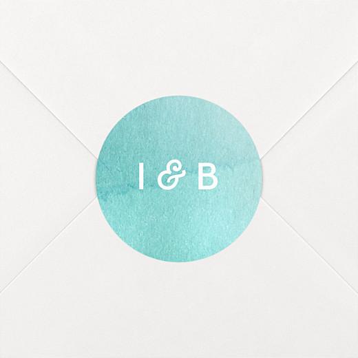 Stickers mariage Aquarelle bleu - Vue 2