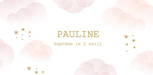 Marque-place Baptême Brume rose