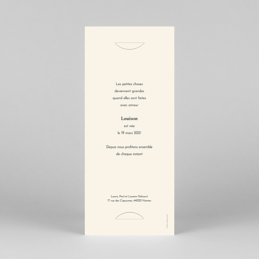 Faire-part de naissance Mélopée (marque-page) blanc - Vue 4