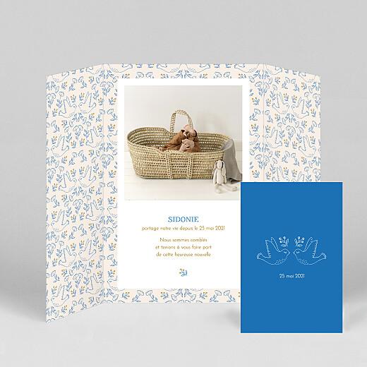 Faire-part de naissance L'envolée (fenêtre) bleu - Vue 2