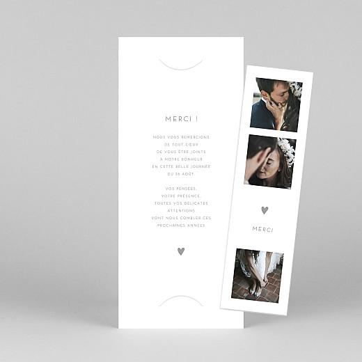 Carte de remerciement mariage Elégant cœur (marque-page) blanc - Vue 1