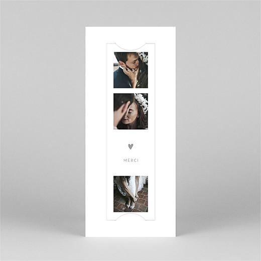 Carte de remerciement mariage Elégant cœur (marque-page) blanc - Vue 2
