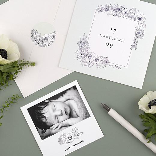 Stickers pour enveloppes naissance Esquisse fleurie vert - Gamme