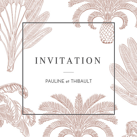 Carton d'invitation mariage Oiseaux de paradis rouille