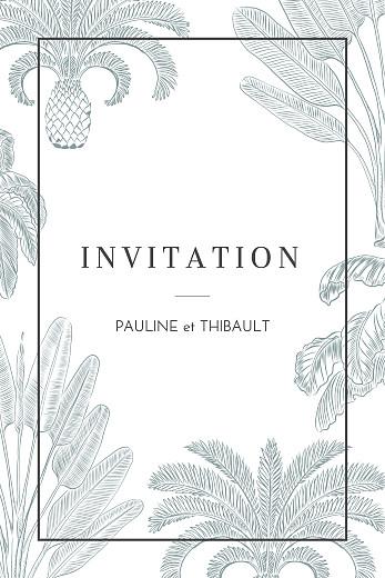 Carton d'invitation mariage Oiseaux de paradis portrait bleu